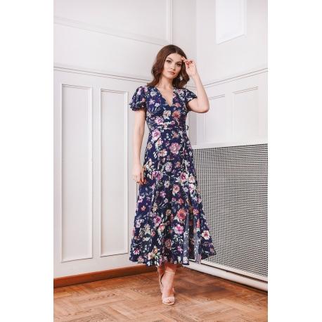 Sukienka Dagna Kwiaty Granat